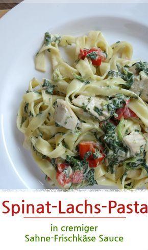 Spinat-Lachs-Pasta in cremiger Sahne-Frischkäse Soße #lachs #spinat #nudeln