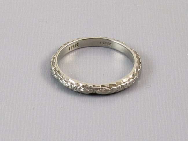Vintage Art Deco 18k White Gold Fl Engraved Wedding Band Ring By Sundayandsunday On Etsy