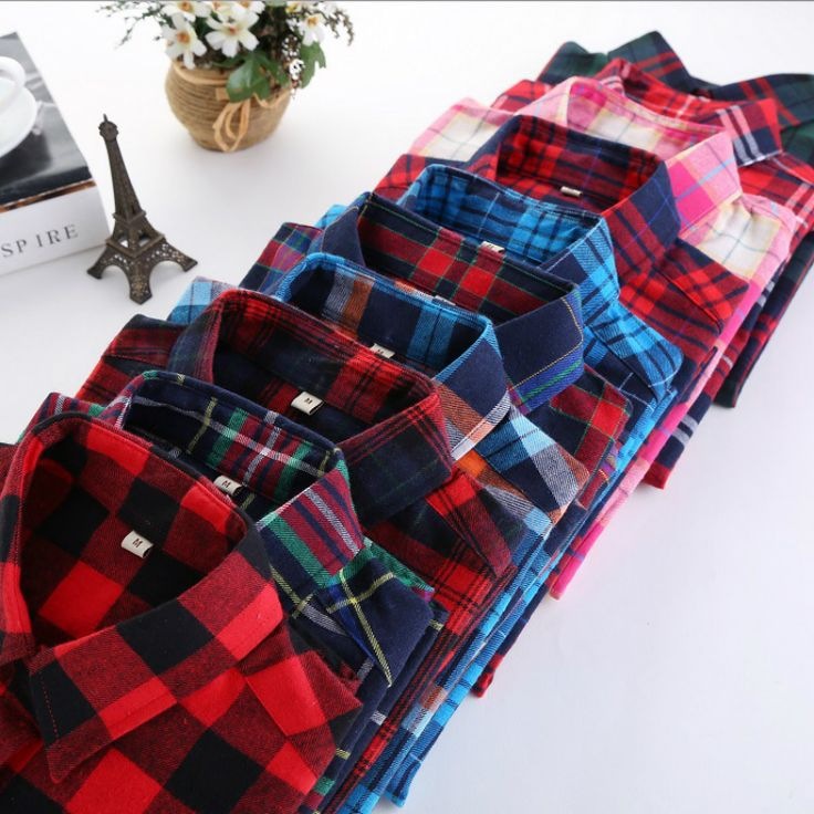Autumn 2017 New Women Casual Plaid Shirts Long Sleeve Slim Fit Soft Brushed Flannel Cotton Shirt Leisure Styles Ladies Clothes