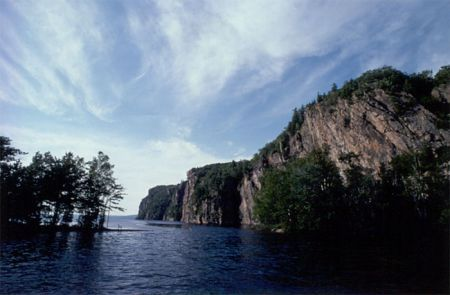 Situated on Mazinaw Lake, Bon Echo Provincial Park offers camping, hiking, canoeing, and swimming. It is best known for its ancient native pictographs on its 300' high lakeside cliffs