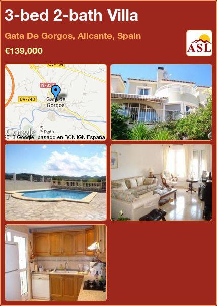 3-bed 2-bath Villa in Gata De Gorgos, Alicante, Spain ►€139,000 #PropertyForSaleInSpain