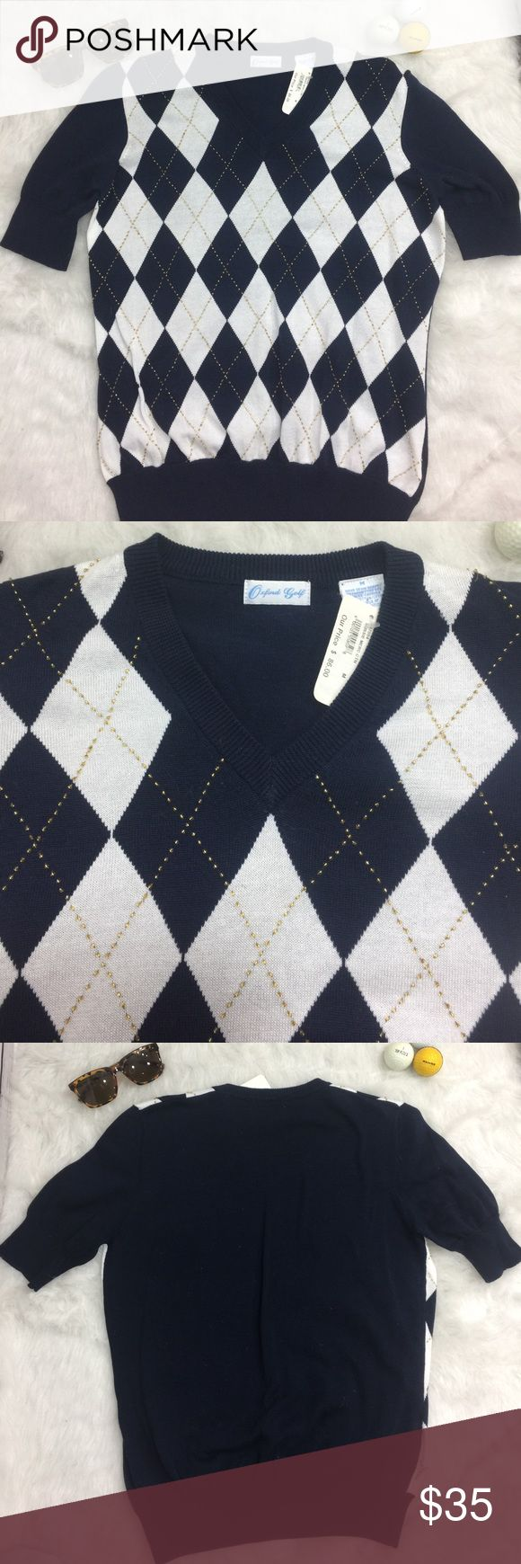 Vintage Oxford golf sweater argyle Vintage ladies Argyle golf sweater new with tags has blue and white argyle pattern with gold beads design. 100% cotton oxford golf Tops