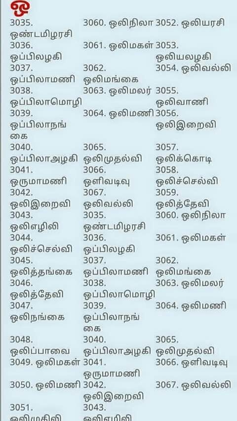 Ko Name List Boy Hindu : hindu, Tamil
