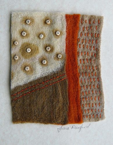 A mixture of wet felting and dry needle felting on the embellisher maching. Hand stitching. by Fi@84, via Flickr