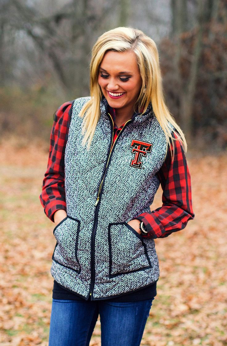 TEXAS TECH HERRINGBONE QUILTED PUFFER VEST first full paycheck can't come soon enough ♡
