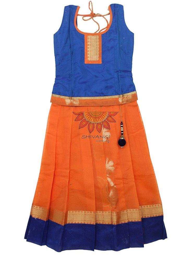 #readymadePattupavadai #kidspattupavadai blue with orange Pattu pavadai