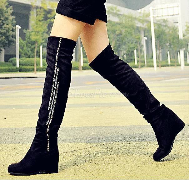 happyness Cheap Comfortable Black Suede Flat Heel Knee High Boots