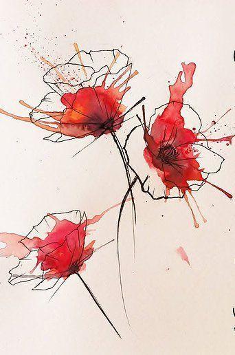 poppy flowers watercolour coquelicots fleurs aquarelle