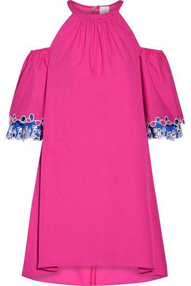 Peter Pilotto - Off-the-shoulder Embroidered Cotton-poplin Mini Dress - Pink - UK10