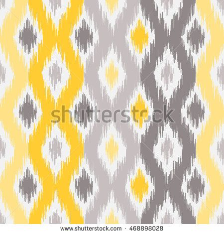 Yellow and gray ikat fabric, vector illustration. Seamless geometric pattern, based on ikat fabric style. Vector illustration.