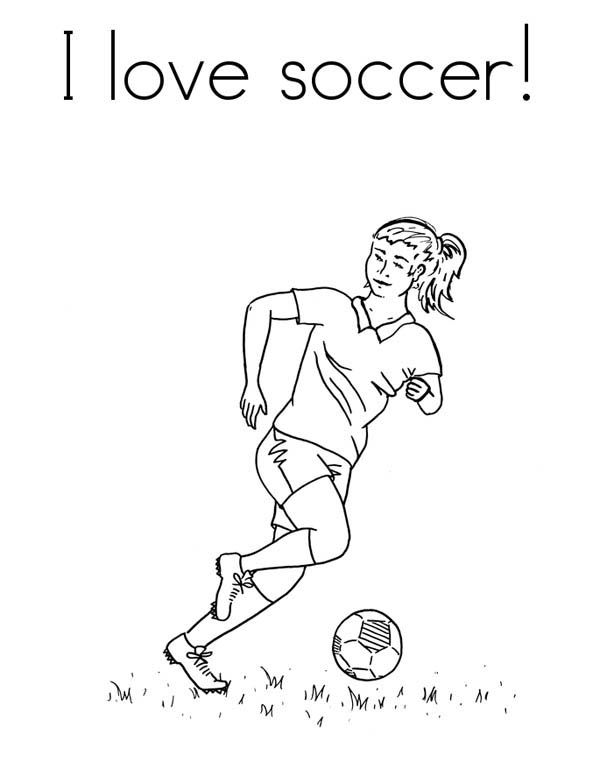 Soccer girl Player Coloring Pages | Soccer, : A Female Player in I Love Soccer Pamphlet Coloring Page