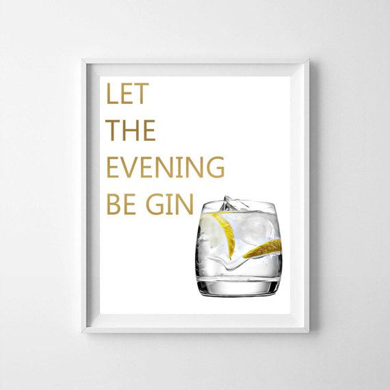 Let the evening be gin bar decoration kitchen print by NeoArtBook