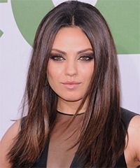 Mila Kunis Hairstyle: Casual Long Straight Hairstyle.... kinda considering cutting my hair to this length...