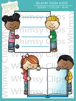 The kids with blank signs clip art set contains 8 image files, which includes 4 color images and 4 black & white images in png and jpg. The center of the images have been left blank so you can add text or images. The images in this set are great for worksheets, bulletin boards, classroom newsletters, decor and more. All images are 300dpi for better scaling and printing. $