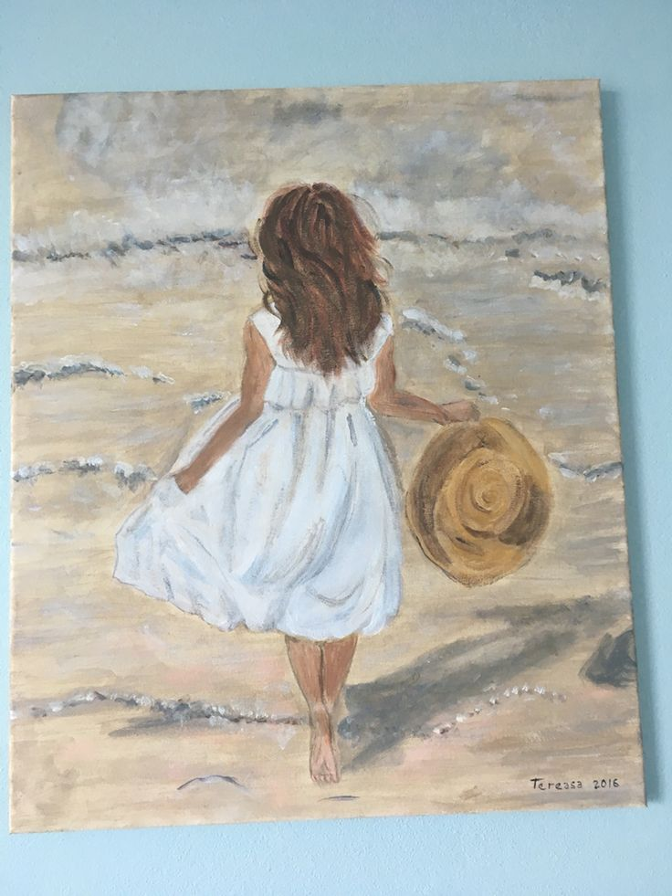 My newest painting girl on beach with hat