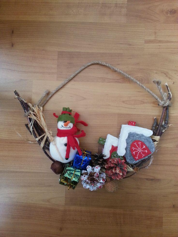 Yeni fikirler, yeni yıl, yılbaşı, süs, duvar, kapı, kardanadam, kozalak, hediye paketi