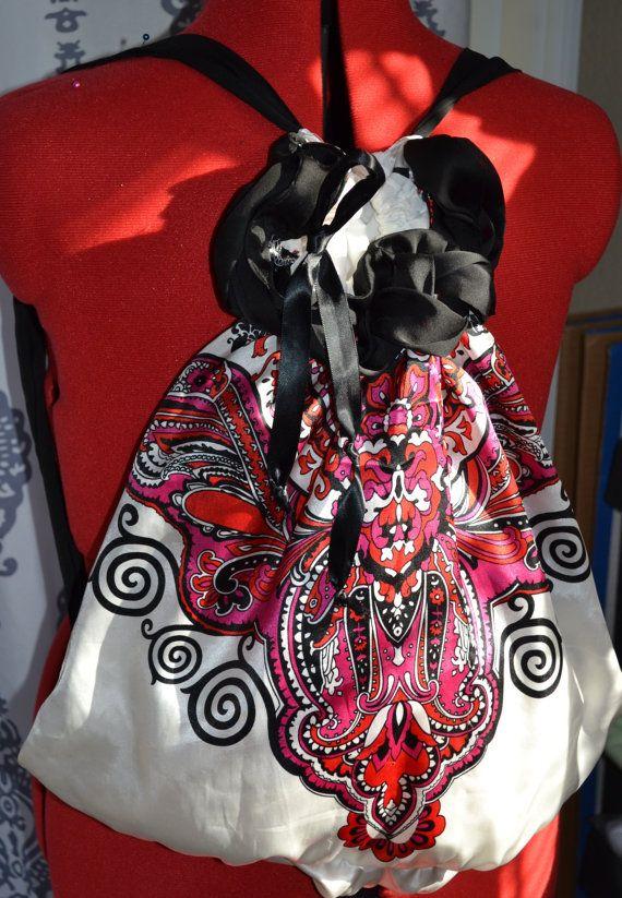 Bag, Backpack from cute upcycled top, boho backpack, boho bag, lightweight backpack