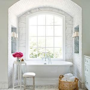 Mark Williams Design - bathrooms - white marble, white marble floor, white marble tile floor, bathtub nook, bathtub alcove, tub nook, bathro...