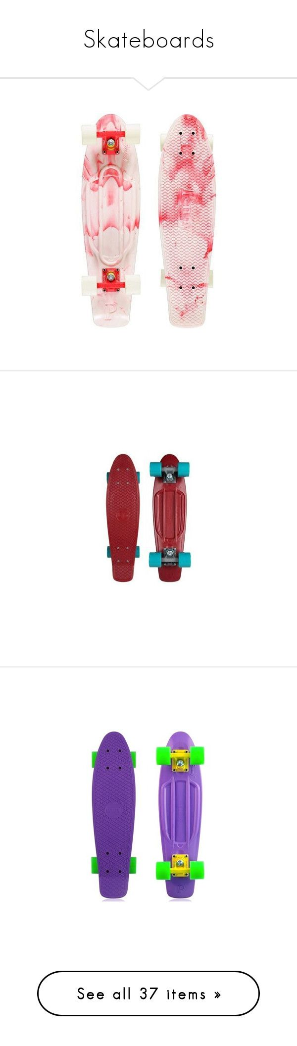 """Skateboards"" by cherry-demon ❤ liked on Polyvore featuring fillers, skateboard, boards, fillers - pink, penny boards, red fillers, other, skateboards, accessories and board"