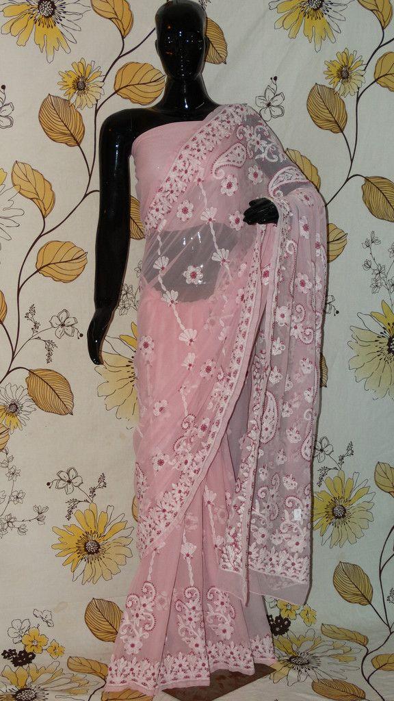 Chikankari Mauve Georgette Saree - Cotton thread Chikan with all over work