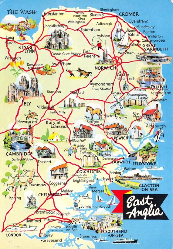 Vintage 1980s 1990s Map Postcard Of East Anglia Norfolk Suffolk Norwich Ipswich Ax4 By Cavalierpostcards England Map Norfolk England Norwich England
