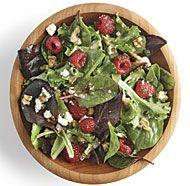 Mixed Green Salad with Ricotta Salata, Walnuts, and Raspberry Vinaigrette