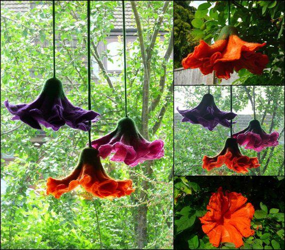 felted flower flowers ornament window by FeltedArtToWear on Etsy