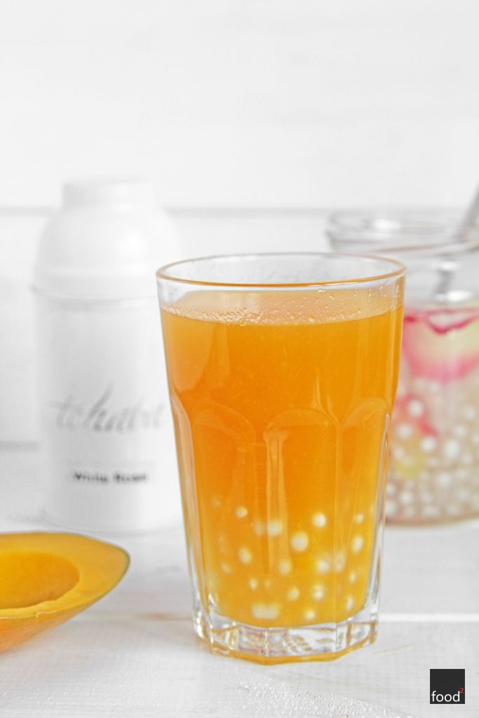 Home-made bubble tea with mango and rose water