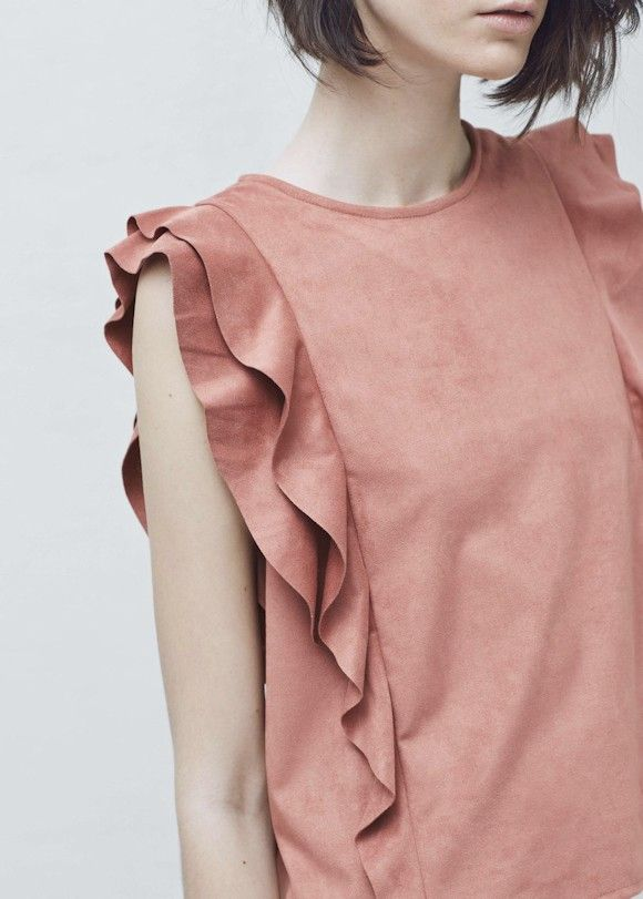 Coral Top With Ruffles