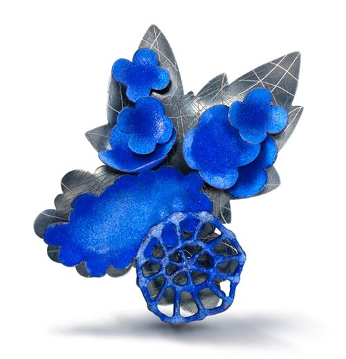 Wendy McAllister Brooch: Blue Chariot Vitreous enamel, copper, oxidized sterling silver 7.6 x 10.2 x 3.2 cm