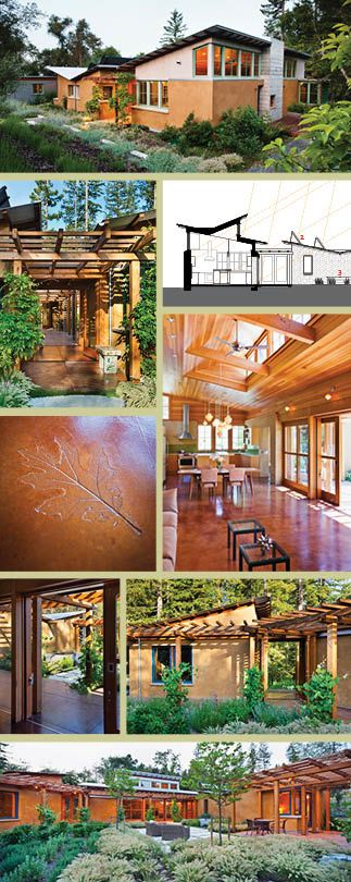 collage of images from strawbale construction house Vine Hill Road in California