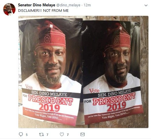 Senator Dino Melaye Gives Disclaimer Over Presidential Posters Seen Around The Country