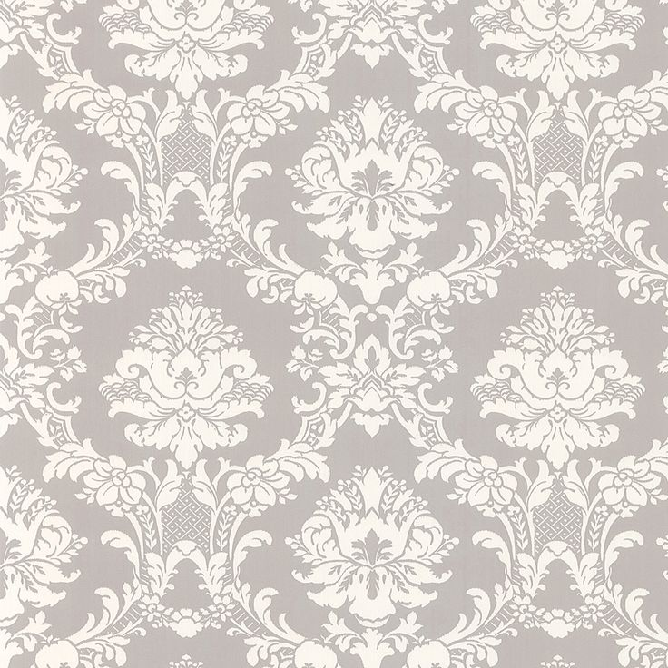 White on gray victorian stencil floral damask wallpaper for Gray and white wallpaper designs