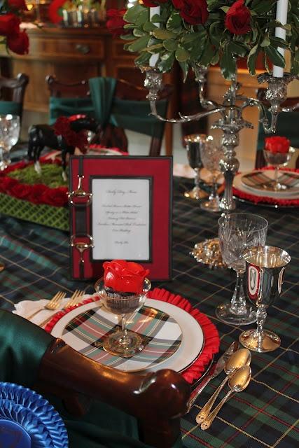 framed menu cards for the tartan themed christmas table (The Polohouse)