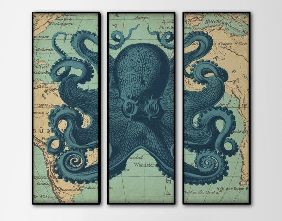 Nautical Map Octopus Triptych - Set of 3 Large Prints - Navy Octopus Art - Vintage Nautical Home Decor - Large Wall Art - Three Panels Art on Etsy, $45.00
