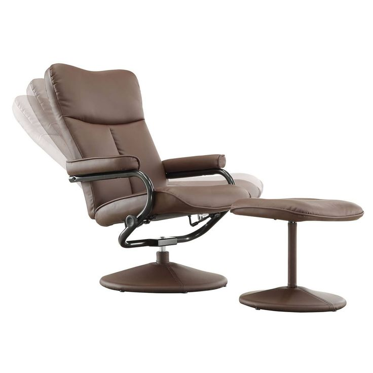 Olivia Bonded Leather Swivel Recliner Chair with Ottoman iNSPIRE Q Modern (Olivia Brown)