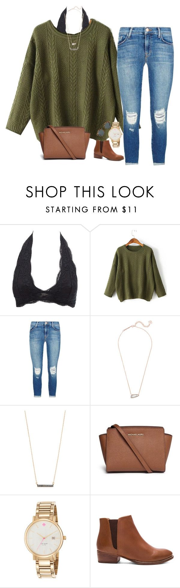 """""""hey poly. it's been awhile..."""" by isabella813 ❤ liked on Polyvore featuring Charlotte Russe, WithChic, J Brand, Kendra Scott, Adina Reyter, Michael Kors, Kate Spade, Seychelles and Ray-Ban"""