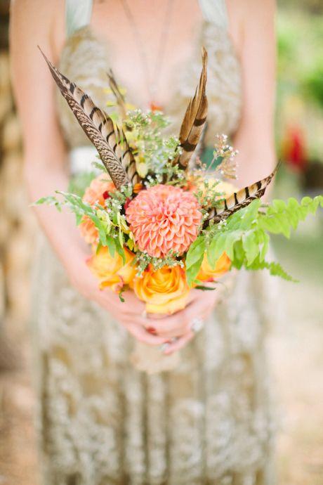 Feather bouquet. Flowers. http://www.cluneyphoto.com/wp-content/uploads/2012/09/Missoula-Wedding-Photographer-313.jpg