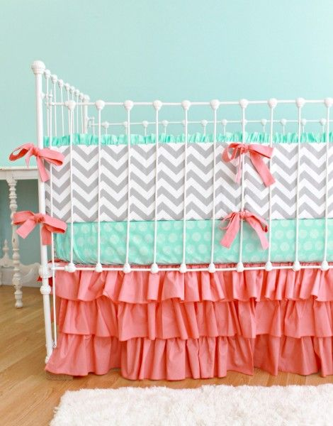 mint and coral nursery. Crystal this is what you were thinking? I like the chevron print mixed in!
