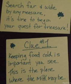 First Clues for St. Patrick's Day Treasure Hunt