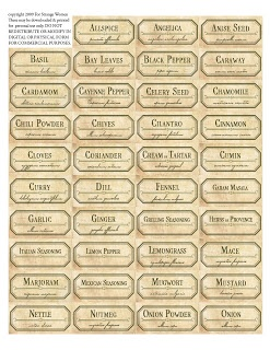 DIY Spice Jar Labels~~over 90 ancient labels for spice & botanical herb jars to spice up your kitchen ~ for free!