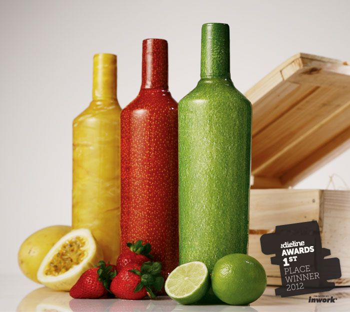 packaging design for Smirnoff Caipiroska - JWT in Brazil created bottles with the texture of the fruit for the flavors lemon, passion fruit and berries and a diagonal perforation, so that consumers could feel the unique experience of peeling a drink made of fruit http://www.jwt.com/