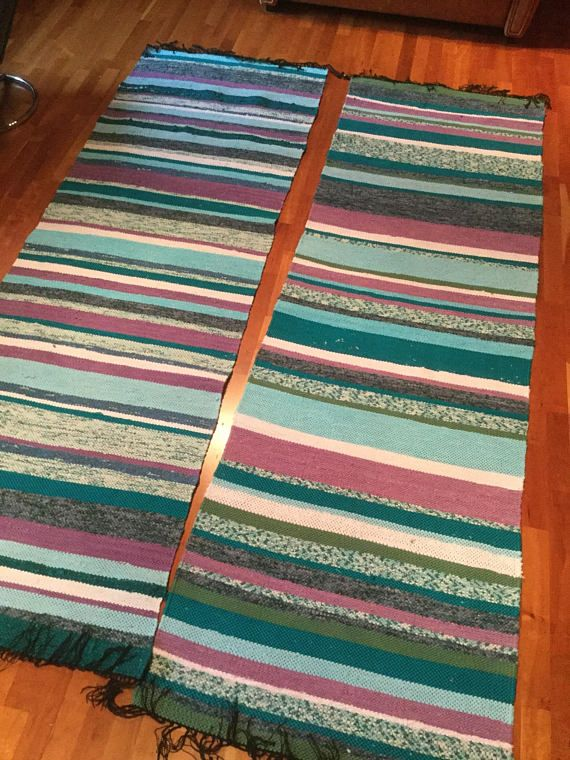 Two turquoise and lila rag rugs washed once