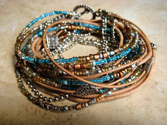 Boho Chic Endless Leather and Chain Wrap Beaded bracelet by LeatherDiva