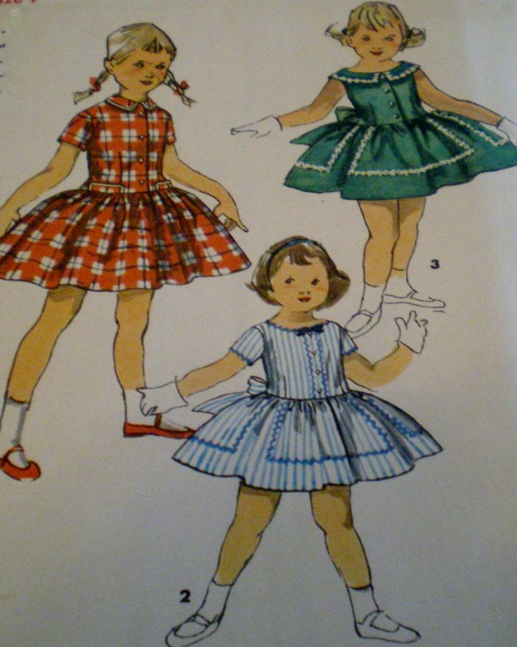 Vintage anni cinquanta semplicità pulsante formato frontale Abito da cucire modello 1558 ragazza 4 * * Esteam di VINTAGEShopsDelight su Etsy https://www.etsy.com/it/listing/221721797/vintage-anni-cinquanta-semplicita