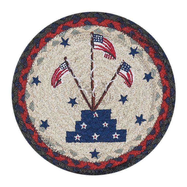 "Flag Stand 10"" Round Braided Jute Trivet Set of 2 #80-015FS"