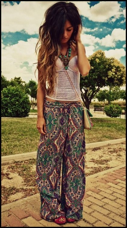 - Boho pants and a white corset top! <3