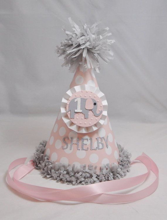 1st Birthday Elephant Party Hat Girl Pink by CardsandMoorebyTerri, $13.00
