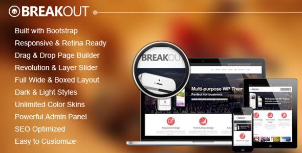 Breakout - Retina Responsive Multipurpose WP Theme $45