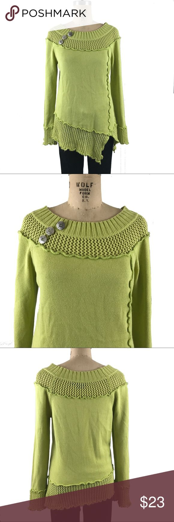 "Tribal Pure Cotton asymmetrical hem sweater green Tribal Pure Cotton asymmetrical hem sweater green. Very good condition with interesting button detail. Reversed seams. measurements: bust: 20.75 sleeve length from shoulder: 25.5 length: 30"" Tribal Sweaters"